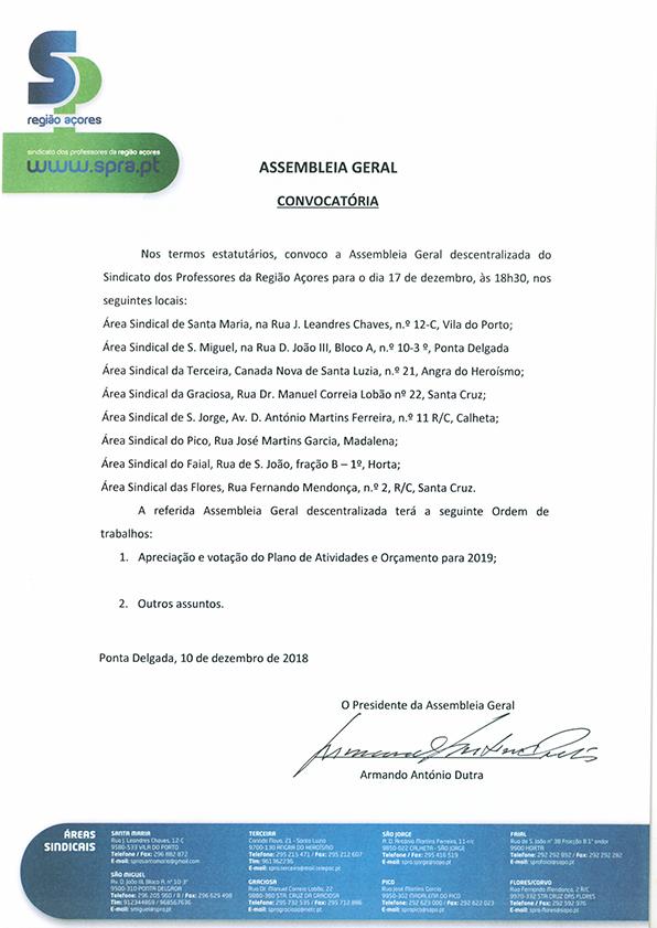 Convocatória Assembleia Geral 17 dezembro 2018
