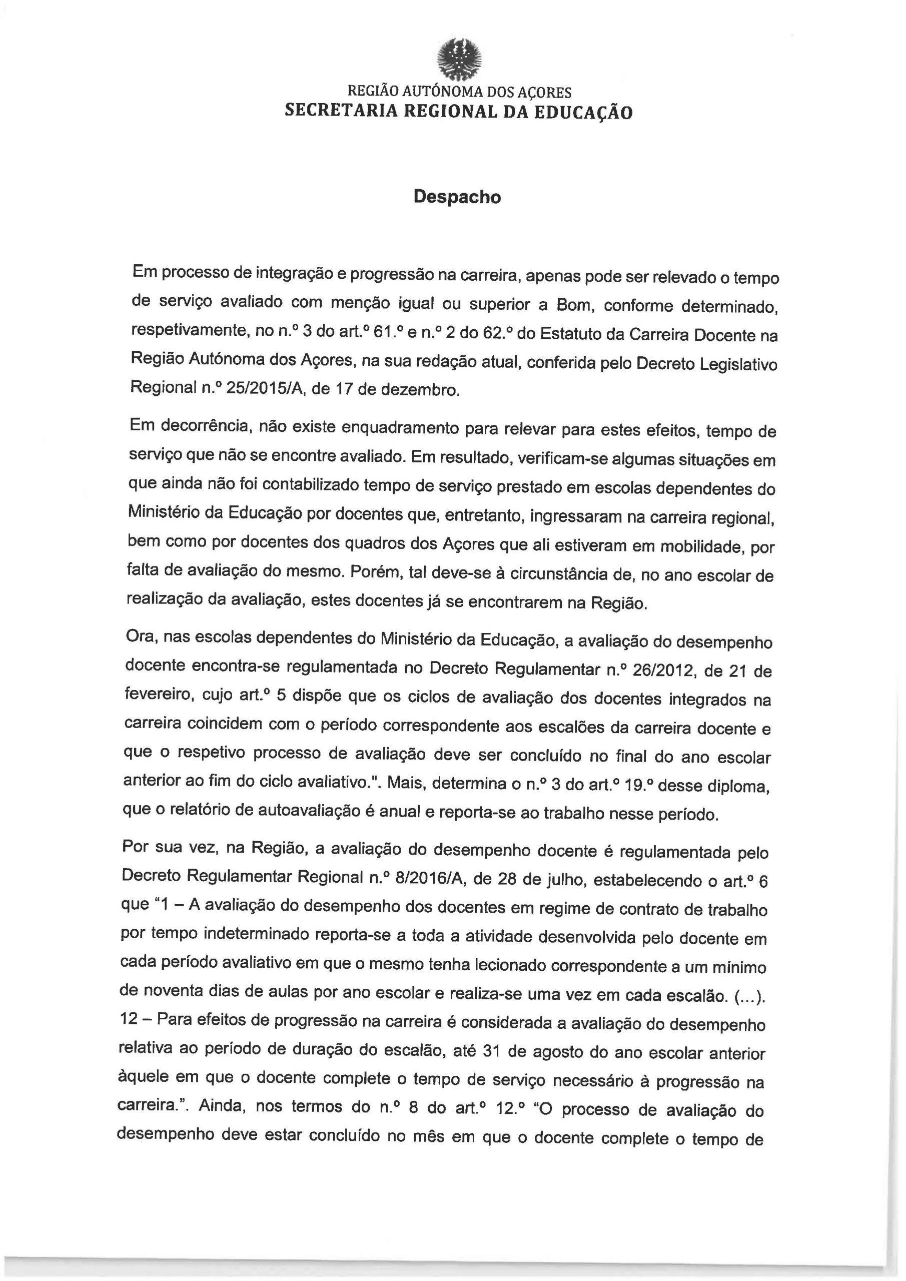 Despacho do Estatuto da Carreira Docente Page 1