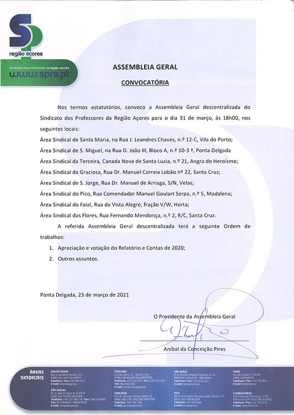 Assembleia Geral 31 de março de 2021 Relatorio e Contas 2020